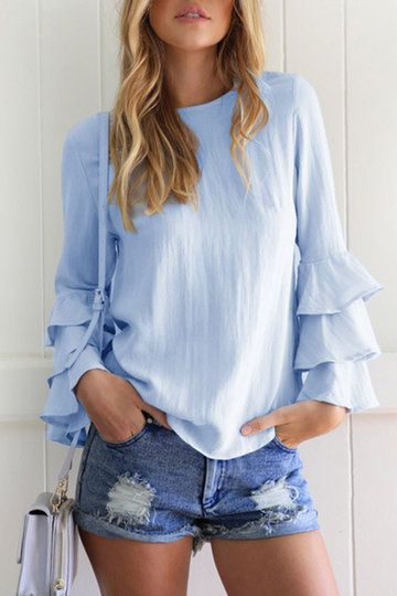 Blue Flared Sleeves Round Neck Blouse - US$15.95 -YOINS