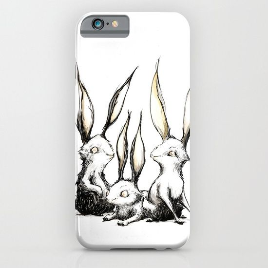 Cellphone case, drawing  graphite  ink/pen  comic   illustration  figurative  rabbit  bunny   long-ears  paranoia  scared  listen   ready  run  wild