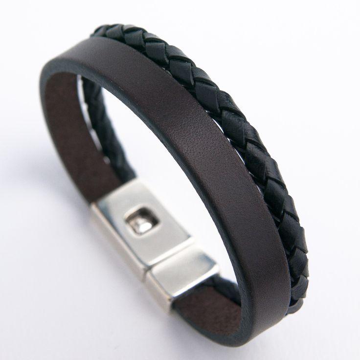 Bracelet homme cuir épais marron et cuir rond tressé noir