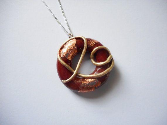 Gorgeous Intricate Circle Pendant  Large  Polymer by SophieCarlon