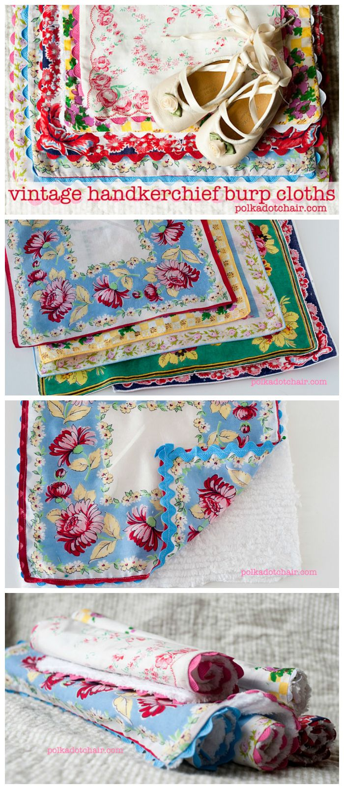Repurpose Vintage Hankies into a sweet gift for a new baby. Burp Cloths made from Vintage Handkerchiefs