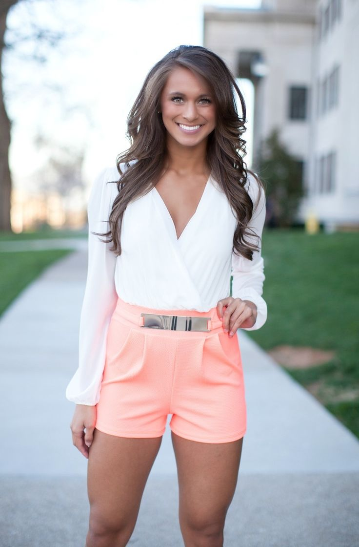 Long Sleeve Romper - Neon Coral