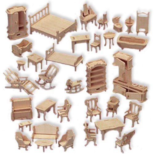 Doll House Furniture Set Woodcraft Construction Kit, 1/24 Scale