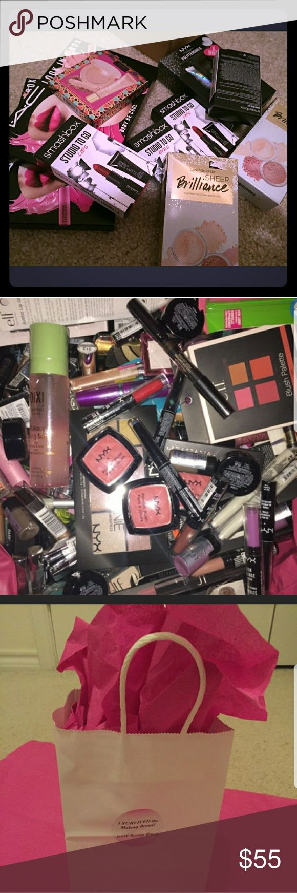 *NEW 35 Pc 💋MakeupBrawl™️ Bags WITH MAC Cosmetics Items will be random with no duplicates. All bags contain mixed premium brands of different varieties, with up to 5 nail selections. The remaining items will be a mix of eye, lip and face products. Some items in your gift bag may be an actual makeup set, palette, or kit with multiple pieces. It will still count as 1 item out of the 35. You will be sure to find your favorite brands in our bags! If you prefer specific shades or brands, let us…