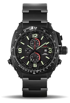 The MTM Special Ops Black Cobra Watch is a Sophisticated Quartz Chronograph Military Watch with Three Sub-Dials, Titanium Case/Band & Sapphire Crystal.