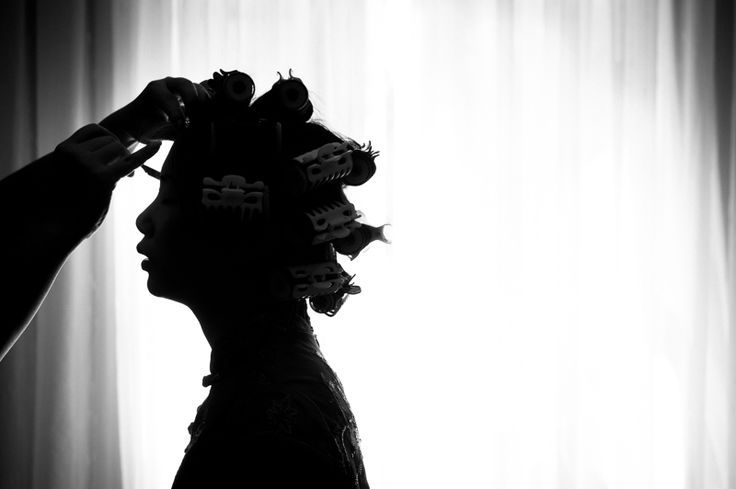 Weddings: Getting ready silhouette... #montreal #wedding #photography www.esthergibbons.com #curlers #gettingready
