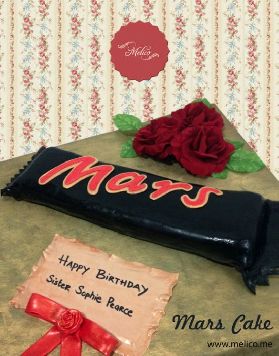 3D Cake - Mars Bar Cake / Chocolate Bar Cake. #3dcake #cake #ediblecake #sculptedcake #noveltycake #birthdaycake #kidsbirthday #sugarart -- Like and Follow us #melicobali (Instagram) || www.melico.me