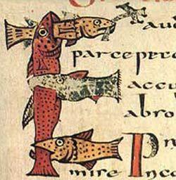 Стихия рыбы — вода, поэтому образ этот связывался также с обрядом крещения: 'Мы же, рыбки, вслед за 'рыбой' нашей, Иисусом Христом, рождаемся в воде', — писал знаменитый христианский богослов Тертуллиан. Буква 'Е' из Парижского Сакраментария. Франция, VIII век