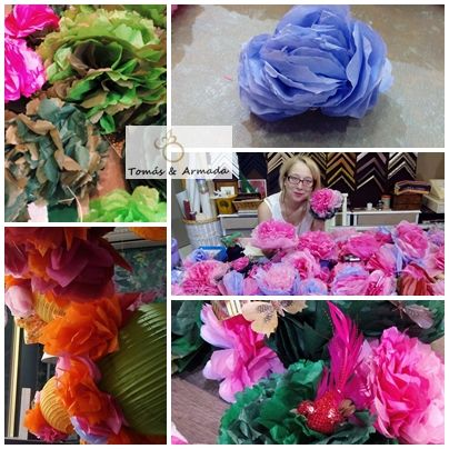 Flores de papel para decoración  de eventos o escaparates.