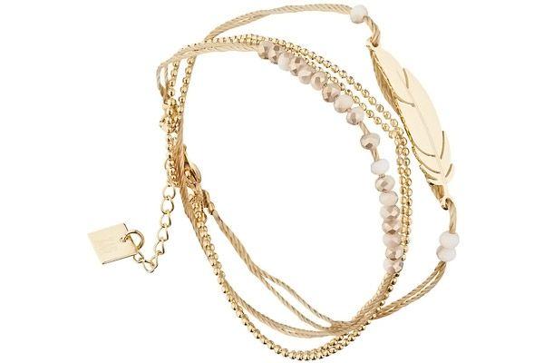 Bracelet multi-tour plume, dorure or jaune Zag Bijoux
