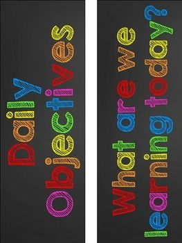 RAINBOW CHALKBOARD DAILY OBJECTIVE AND SUBJECT AREA LABELS - FREEBIE - TeachersPayTeachers.com