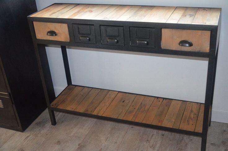 console vintage de style industrielle en bois et m tal. Black Bedroom Furniture Sets. Home Design Ideas