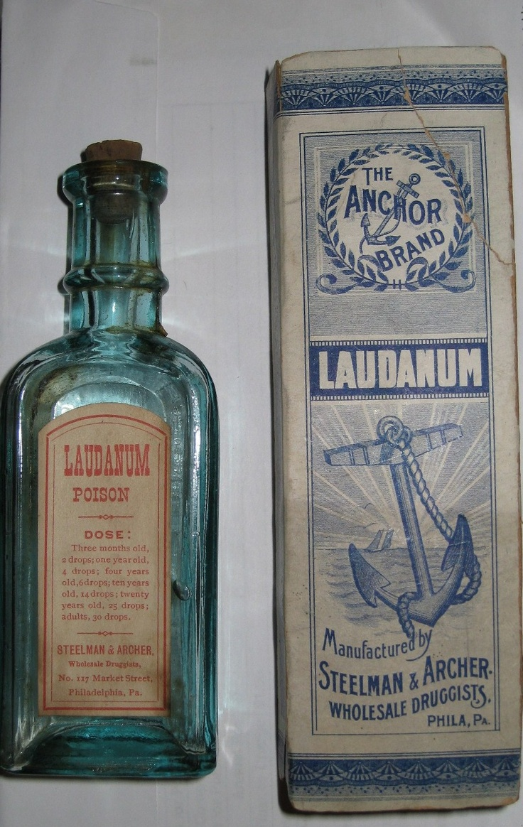 Laudanum~perhaps not the most permissible of medications in Victorian England.  Laudanum was also known as Tincture of Opium, then legal, and was used to treat various ailments from headaches to bouts of coughing.  Laudanum generally contained ten percent of powdered Opium.  Makes you wonder how anything got done in the Era! (Information paraphrased from Wikipedia.com)