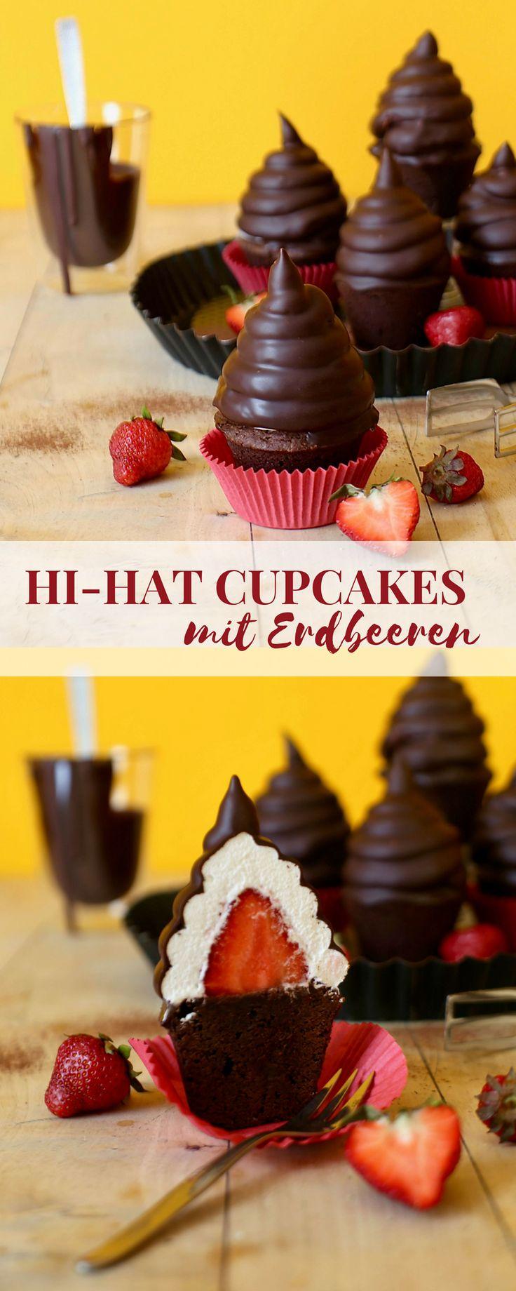 Brownie Hi-Hat Cupcakes mit Erdbeeren