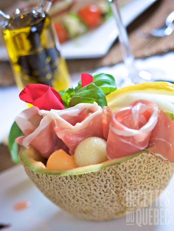 Entr e melon et pancetta recettesduqc entree recettes for Entree pour recevoir