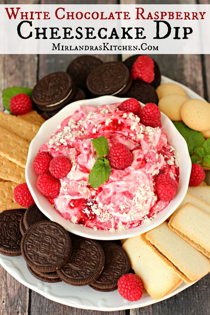 Decadent and simple no cook White Chocolate Raspberry Cheesecake Dip takes 15 minutes to toss together and everybody loves it!  There is no bad occasion for this treat:  Valentine's day?  Girl's night?  Summer picnic?  Christmas?