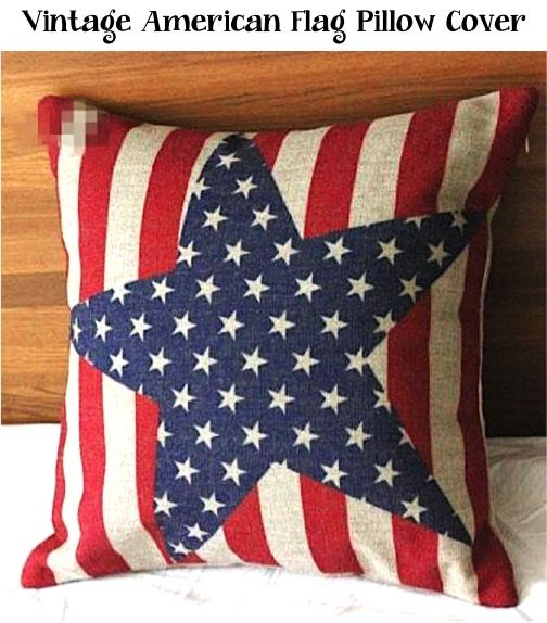 Vintage American Flag Pillow Cover!  Such a fun and frugal way to update your patriotic decor! | TheFrugalGirls.com