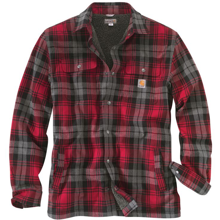 hubbard men Sherpa lined cotton flanneltwo chest pocketstwo button adjustable cuffs with extended plackets.