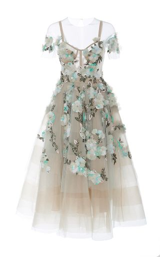 Off The Shoulder Tea Length Cocktail Dress by MARCHESA for Preorder on Moda…