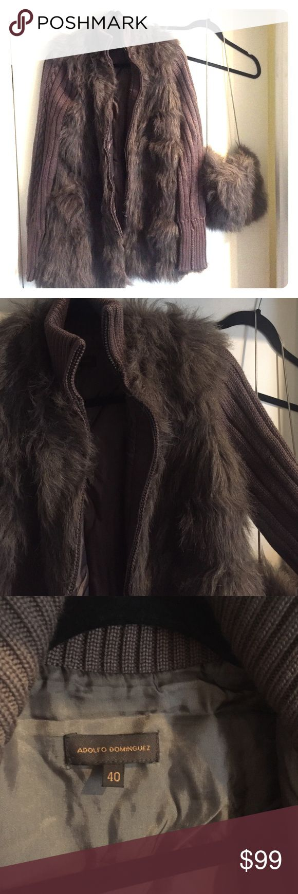 Faux fur sweater and hand warmer. No tags but never been used.  Bought in Japan. UK size 40 Adolfo Dominguez Sweaters Cardigans