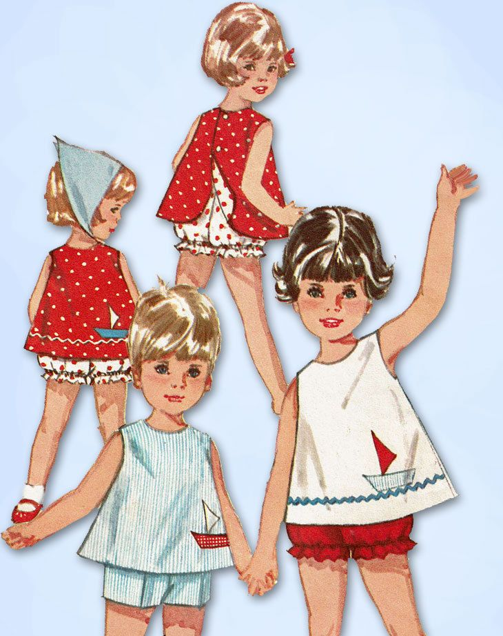 1960s Vintage Simplicity Sewing Pattern 5519 Toddler Girls Top & Bloomers Size 2 #Simplicity #TopandBloomers