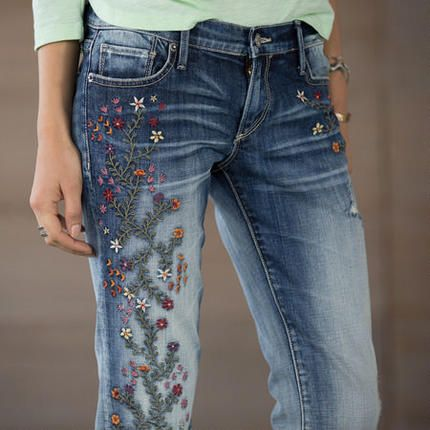 Love the embroidery on these jeans! It's a nice contrast to their weathered look.  KELLY STRAWBERRY BLOSSOM JEANS