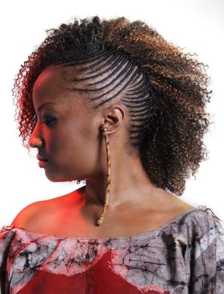 One Side Cornrows Braided Hairstyle Updo Black