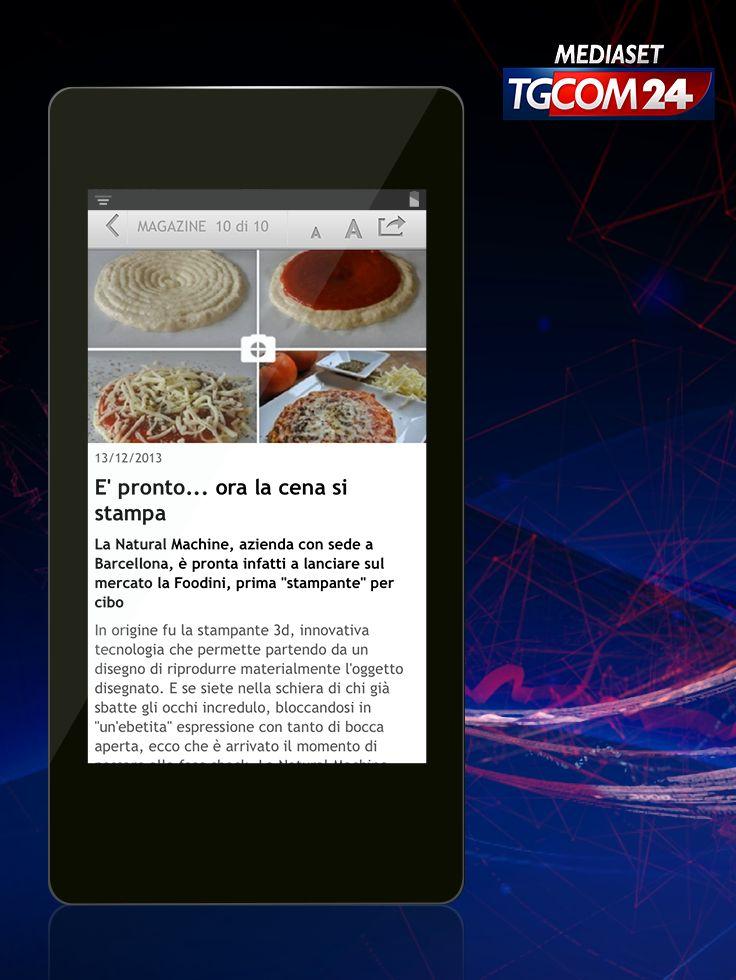 La #cena è…stampata! Natural Machine pronta a lanciare Foodini, la prima stampante per cibo: basterà scegliere la #ricetta e caricare gli ingredienti nella stampante #chef! (Fonte: #TGCOM24) #food #3Dprint