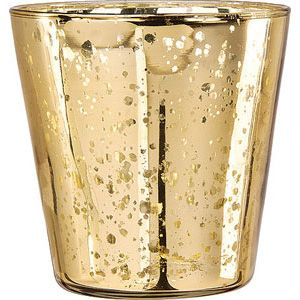 Gold Mercury Glass Vase Wholesale (cup design).  The vintage metallic finish of this gold mercury glass vase is reflective and shimmery. Not for food use. 4 inches wide x 4 inches high.