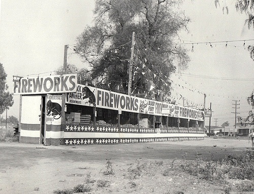 FIREWORKS STAND - Los Angeles, 1949 My dad always took me to fireworks stands and let me get anything I wanted. I loved sparklers!!
