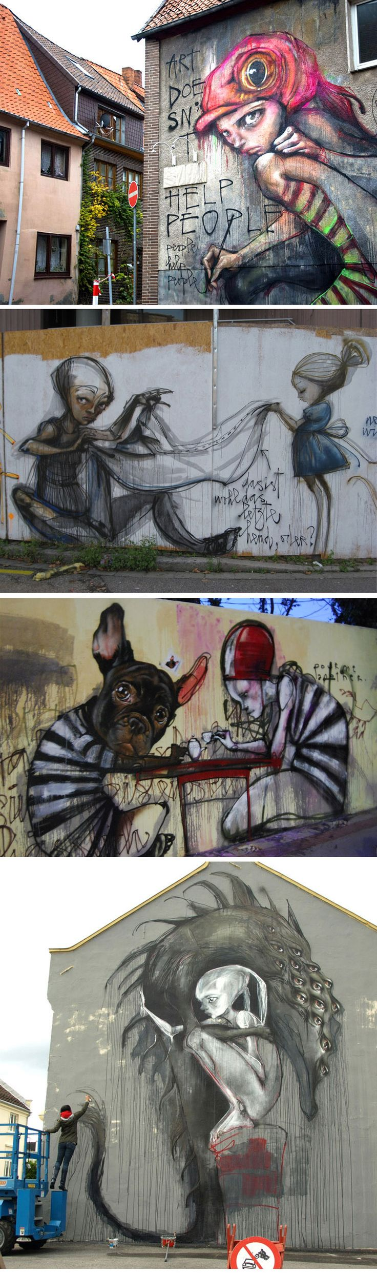 Street Art by Herakut ~ I love the fresh look of this art, and the style of it really interesting.