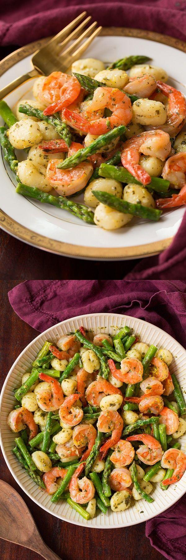 Easy Lemon-Pesto Gnocchi Shrimp and Asapargus