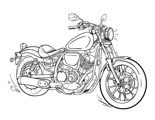 Printable Motorcycle Coloring Page. Free PDF Download At