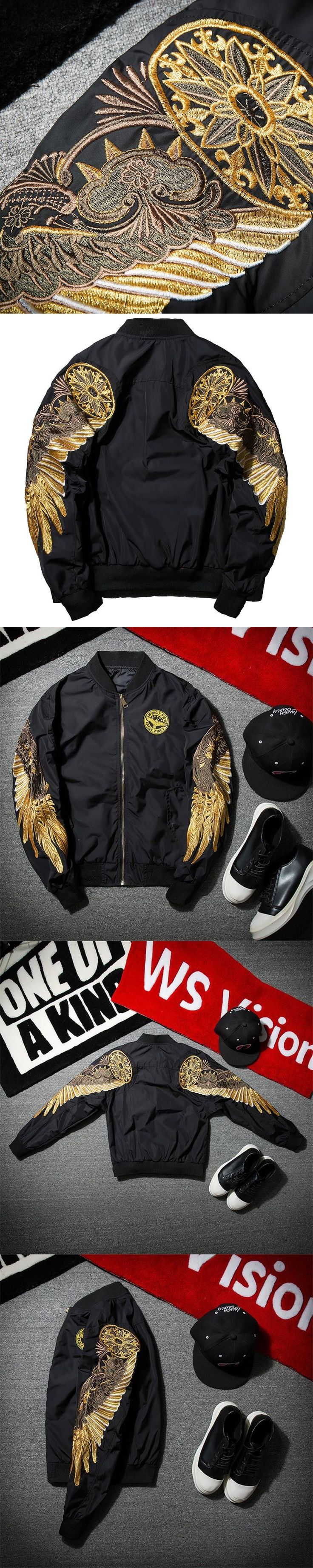 AmberHeard 2017 Spring Autumn Men Jacket Streetwear Black Angel Wing Embroidery MA1 Bomber Jacket Mens Pilot Outerwear Coat