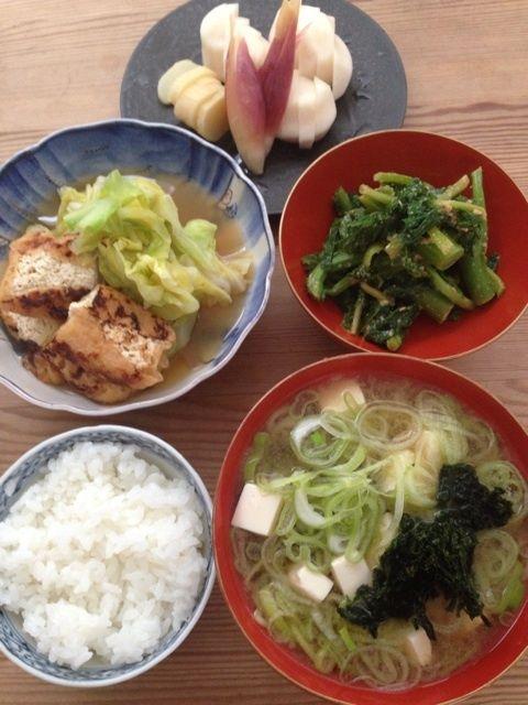 藤井恵さんの朝ごはん(キャベツと揚げの煮浸し、青菜の胡麻和え、豆腐ネギあおさの味噌汁 )