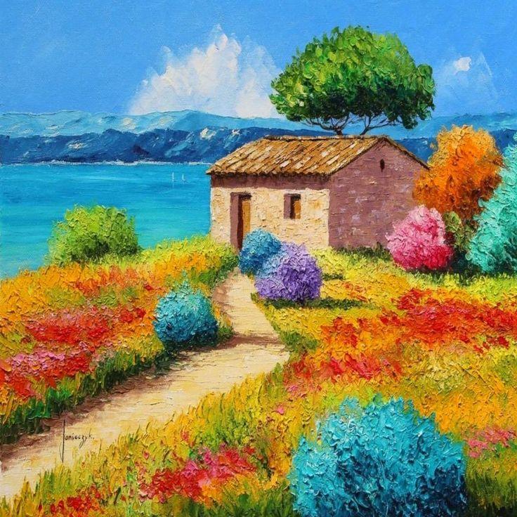 fresco dibujos de paisajes naturales a color