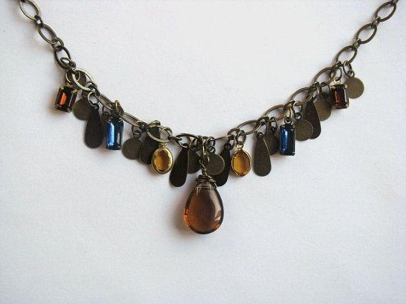 Amber Quartz et verre Vintage Bronze Bezeled Montana par saltyduck