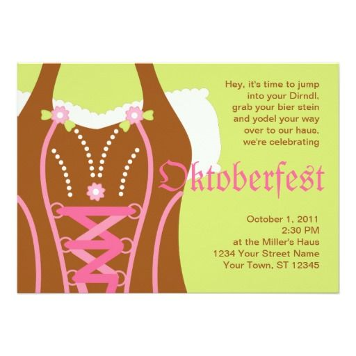 Cute Dirndl Corsage Oktoberfest Invitation