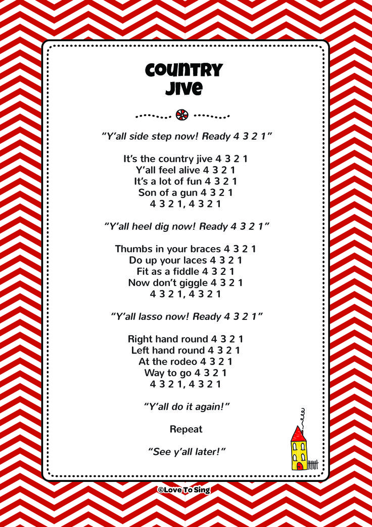 Country Jive. Download FREE fun curriculum learning activities and FREE song lyrics from our website. Watch our FREE videos. http://www.childrenlovetosing.com/kids-song/country-jive/