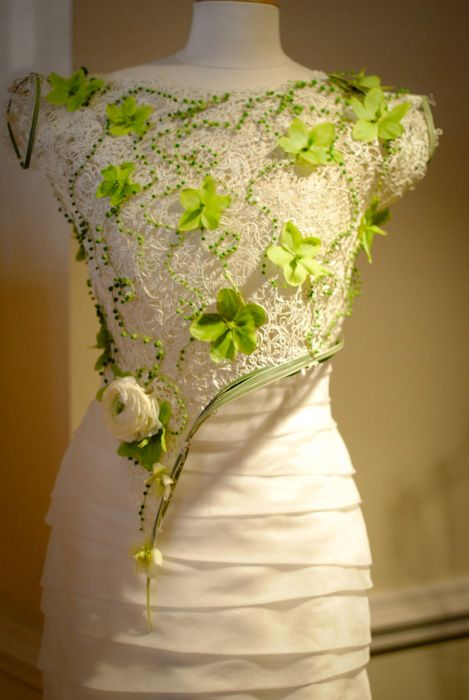 Overlay with flowers for wedding dress
