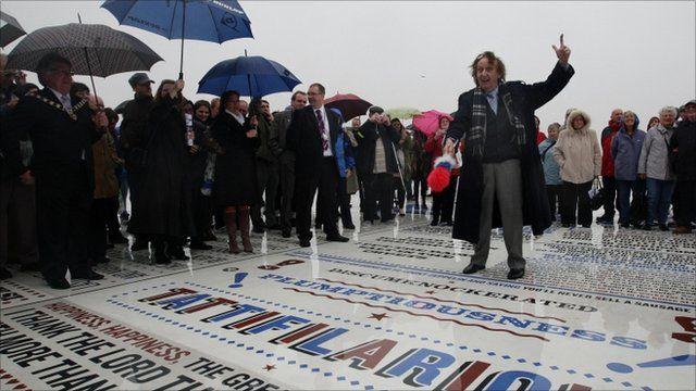 Ken Dodd unveils Blackpool comedy carpet artwork