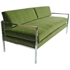 Мило Боман хром и зеленый бархат диван