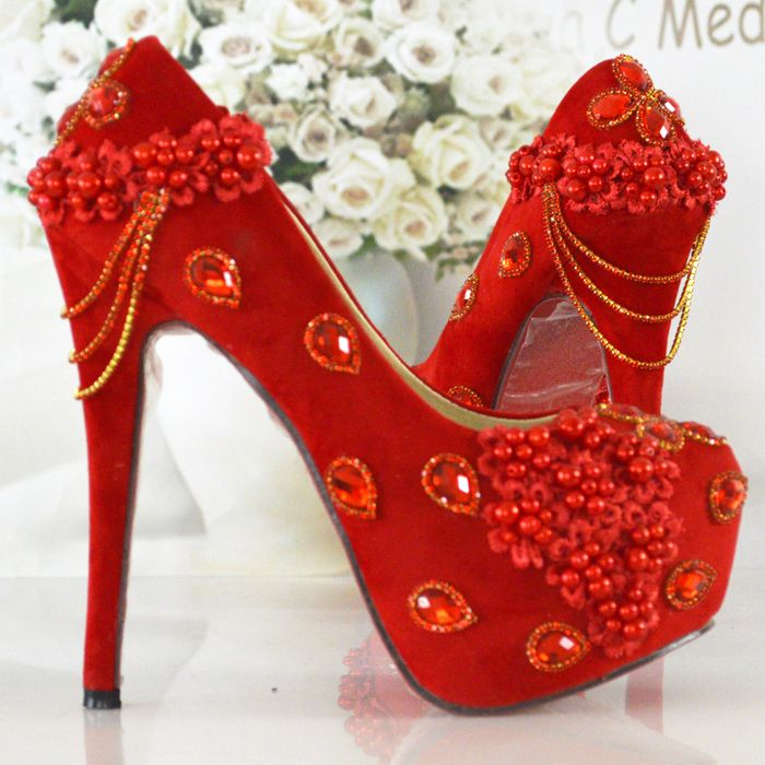 >> Click to Buy << Women's Pumps Red Color Wedding Shoes Fashion Thin Heels High Heels Shoes Woman Beading Bride Shoes  Elegant Dress Shoes Woman #Affiliate