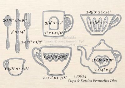 Cups & Kettles Framelits Dies sizes shared by Dawn Olchefske #dostamping #stampinup