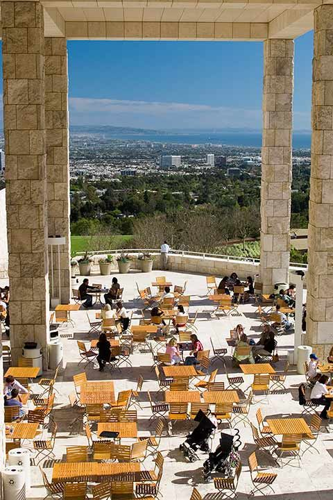 Art + good eats + great view at THE GETTY CENTER. View of the Garden Terrace Cafe from above.