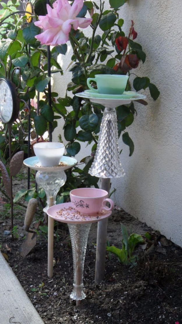 Best 25 teacup bird feeders ideas on pinterest bird for Garden art from old dishes