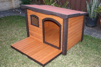 Painted Wooden Dog House Kennel With Window