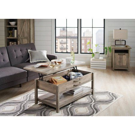 Better Homes and Gardens Modern Farmhouse Lift-Top Coffee Table, Rustic Gray Finish Image 2 of 6