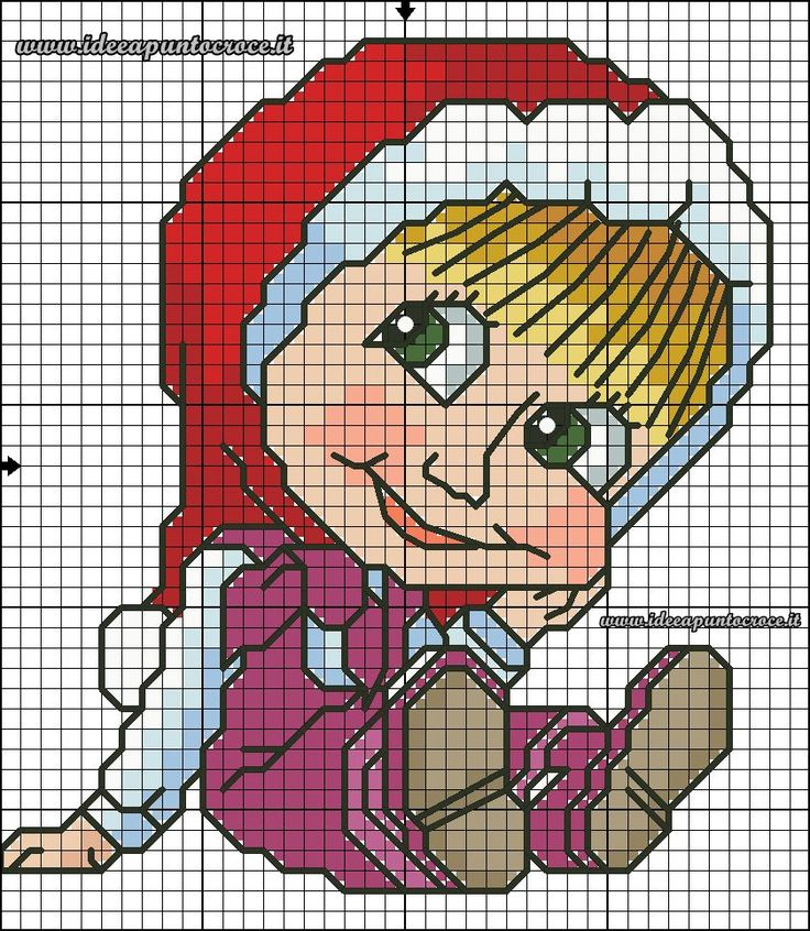 schema punto croce Masha natalizia