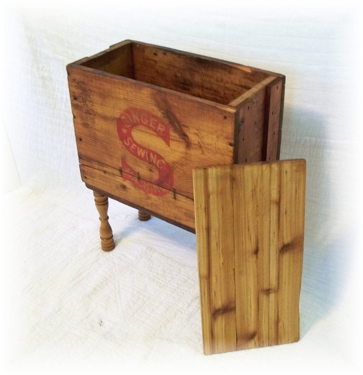 Shipping Crate TABLE an Antique SINGER SEWING MaCHINE Wooden Box upcycled and renewed. $180.00 & 130 best Wooden Boxes u0026 Crates images on Pinterest | Vintage ... Aboutintivar.Com